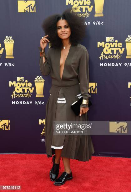 GermanUS actress Zazie Beetz attends the 2018 MTV Movie TV awards at the Barker Hangar in Santa Monica on June 16 2018 This year's show is not live...