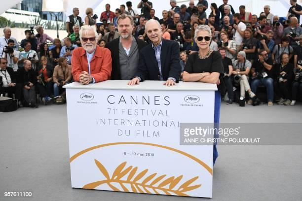 German-US producer Jan Harlan, British director Christopher Nolan, US actor Keir Dullea and Katharina Kubrick, daughter of British director Stanley...