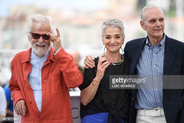 German-US producer Jan Harlan, Katharina Kubrick, daughter of British director Stanley Kubrick and US actor Keir Dullea pose on May 12, 2018 during a...