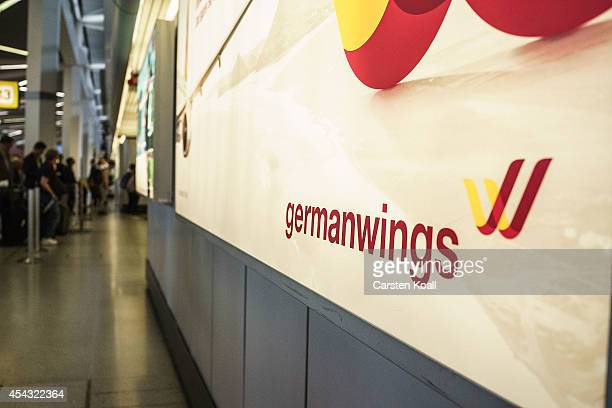 Germanwings advert is displayed during a nationwide 6-hour strike by Germanwings pilots at Tegel Airport that grounded 116 flights on August 29, 2014...