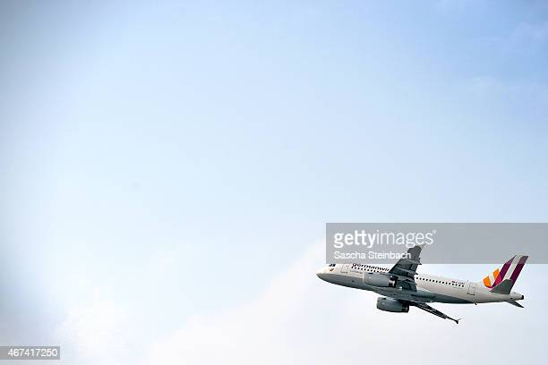 Germanwings Airbus A319100 takes off at Duesseldorf International Airport on March 24 2015 in Duesseldorf Germany Germanwings flight 4U9525 from...