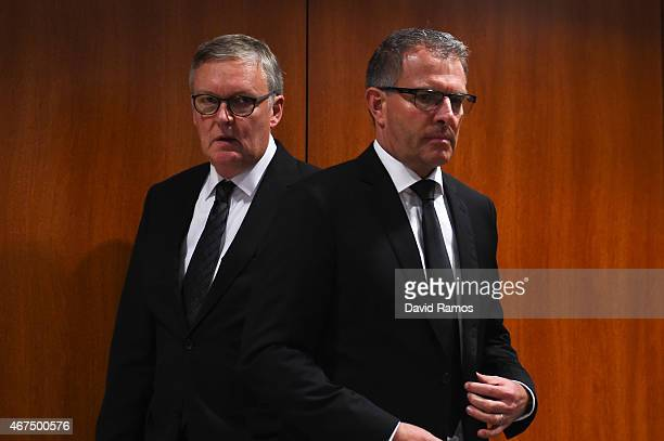 Germanwings CEO Thomas Winkelmann and Lufthansa Group CEO Carsten Spohr give a press conference at the Terminal 2 of the Barcelona El Prat Airport on...