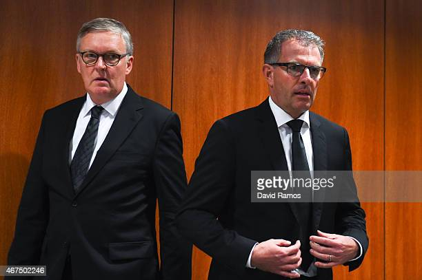 Germanwings CEO Thomas Winkelmann and Lufthansa Group CEO Carsten Spohr arrive for a press conference at the Terminal 2 of the Barcelona El Prat...