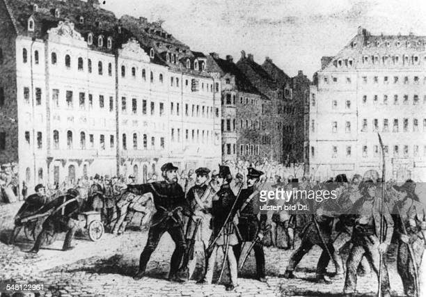 Germany 17891870 Saxony Dresden Revolutions of 1848 in the German states May Uprising in Dresden Revolutionists on the Altmarkt illustration ca 1949...