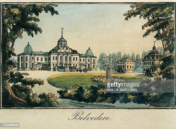 Germany 17th century Weimar Belvedere lithograph