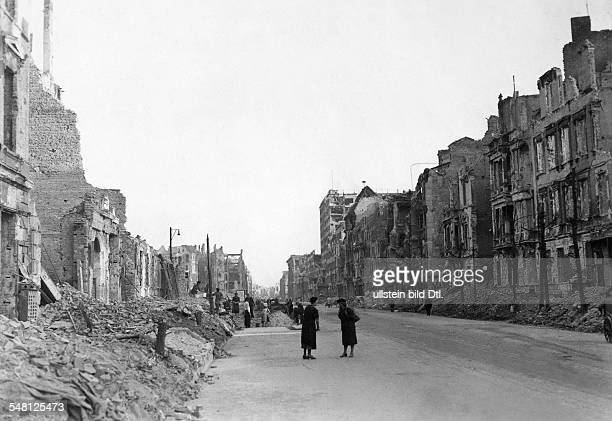 Germany 19451949 Post War Years Berlin Berlin View in the Stresemannstrasse after the destruction during the World War II at the right the...