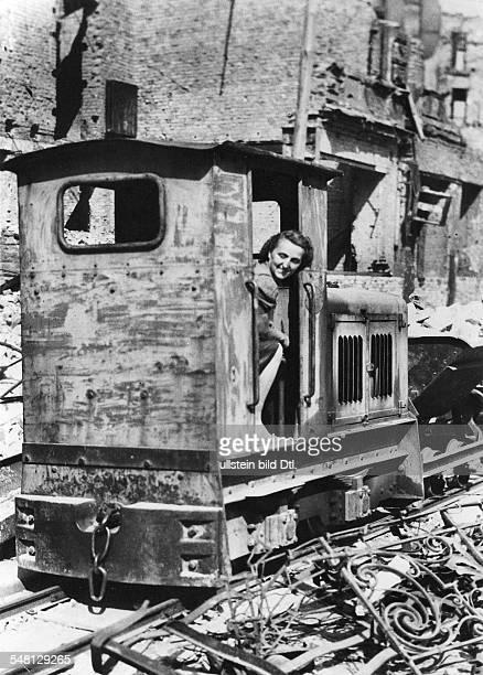 Germany 19451949 Post War Years Truemmerfrau in a motor tractor for transporting the wagons Photographer Walter Gircke Vintage property of ullstein...