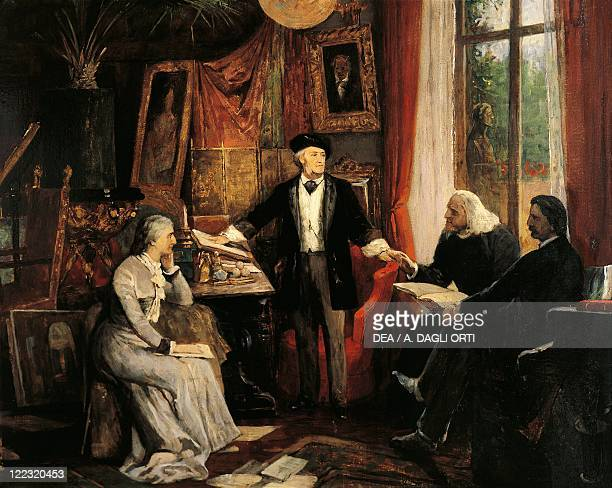 Germany 19th century Richard Wagner and his wife Cosima Liszt with Franz Liszt at the Wahnfried Haus in Bayreuth