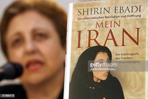 2003 Nobel Peace Prize laureate Shirin Ebadi of Iran addresses a press conference on her soon to be released autobiography Mein Iran at a book store...
