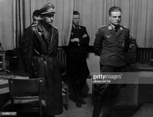 Germany 2WW Germany bombattacks air defence Pilots of a night fighter group on standby duty at their command post 1942 Photographer Willi Ruge...