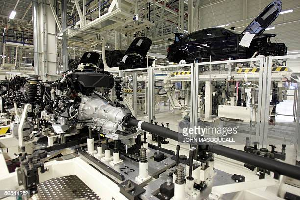 A chassis waits to be mounted on to cars on a production line at BMW's Leipzig plant 13 October 2005 The plant which builds BMW 3 series models...