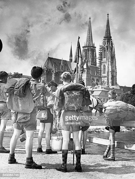 Germany A group of scouts in Regensburg looking at the cathedral in the fifties