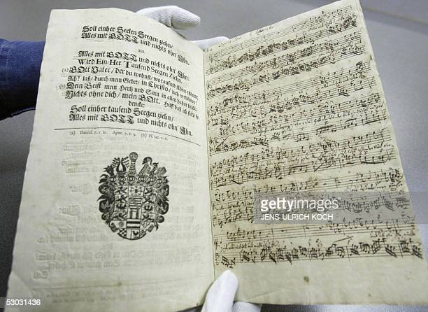 A manuscript of a hitherto unknown vocal composition by Johann Sebastian Bach is presented 07 June 2005 at the Anna Amalia library in Weimar eastern...
