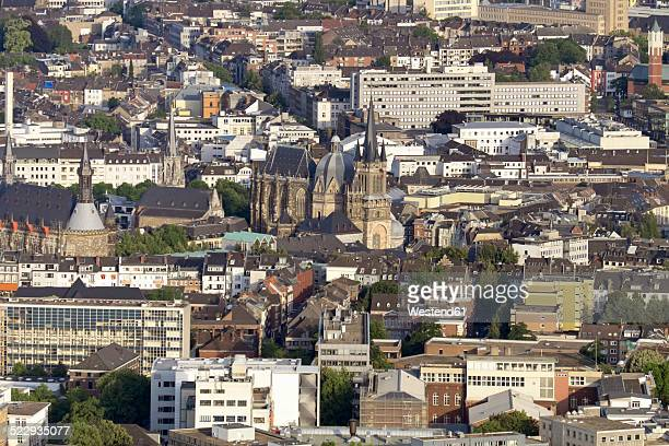 Germany, Aachen, aerial view of the city center with cathedral