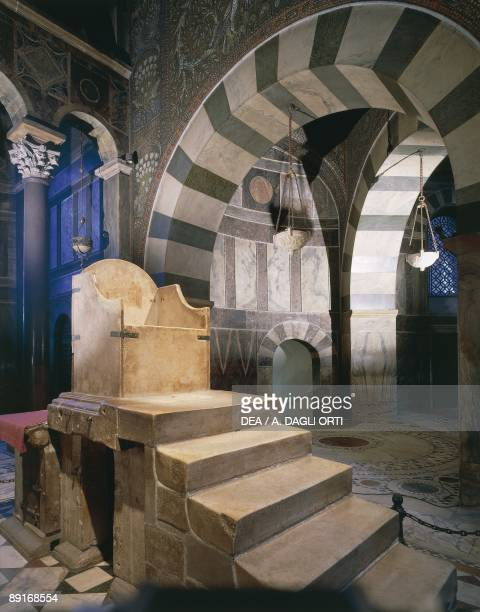 Germany Aachen The Palatine Chapel now part of Aachen Cathedral Throne of Charlemagne in the palace chapel on which were crowned many Emperors of the...
