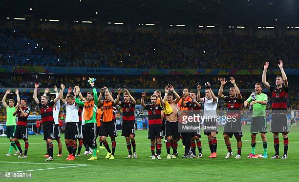 Germany acknowledge the fans after defeating Brazil 7-1 during the 2014 FIFA World Cup Brazil Semi Final match between Brazil and Germany at Estadio...
