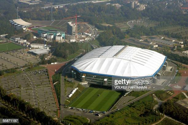 Aerial view of Gelsenkirchen's Veltins Arena football stadium taken 07 October 2005 The Veltins Arena is one of the 12 stadia in Germany that will...