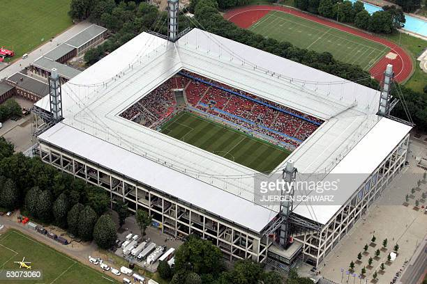 Aerial view taken 15 June 2005 shows the RheinEnergie stadium in Cologne during the Confederations cup football match Argentina vs Tunisia. Argentina...