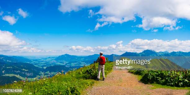 Germany, Allgaeu Alps, Hiker standing on path looking at panoramic road from Fellhorn to Sollereck mountain