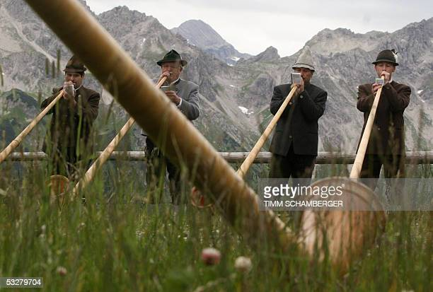 Alpenhorn musicians perform during the socalled 'BerglarKirbe' mountain mass on 24 July 2005 on the Fellhorn mountain near Oberstdorf southern...