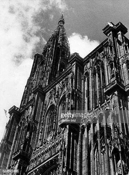 Germany AlsaceLorraine imperial territory Strasbourg Strasbourg Cathedral or the Cathedral of Our Lady of Strasbourg exterior view of the gothic...