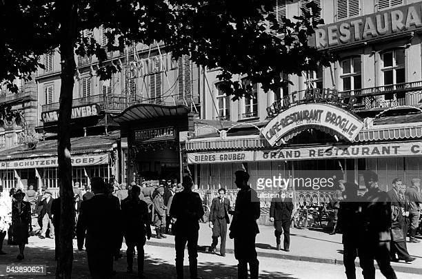 Germany AlsaceLorraine imperial territory Strasbourg The lively Place Broglie and the new opened cinema Broglie Palace ca 1940 Photographer Erich...