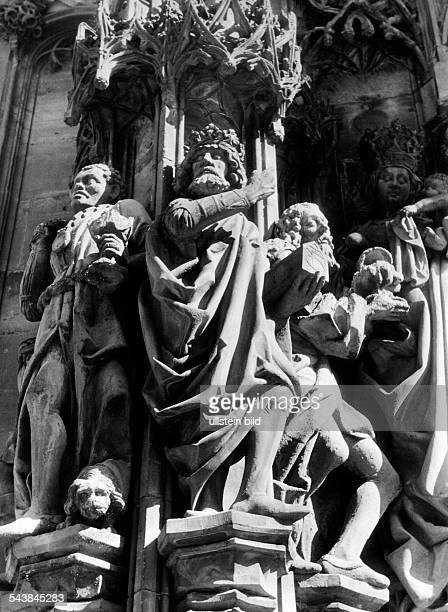 Germany AlsaceLorraine imperial territory Strasbourg The scupture of the Three Wise Men on the outside wall of the Chapel of Laurentius ca 1940...