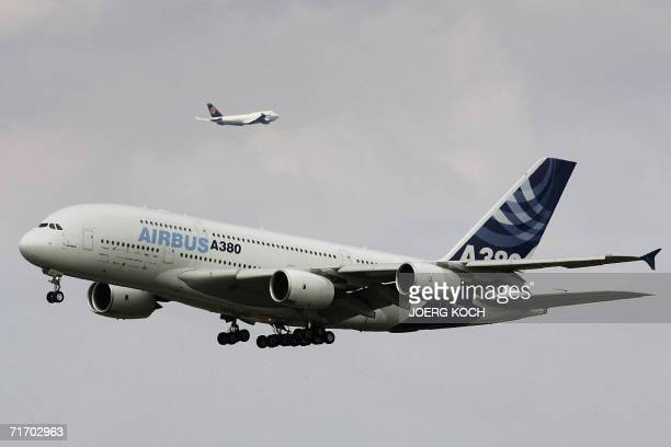 An Airbus A380 and a Boeing 747 overfly the southern German airport of Oberpfaffenhofen 23 August 2006 The A380 the biggest commercial aircraft in...