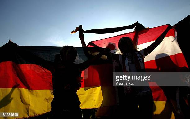 Germany and Austria football fans are seen during the UEFA EURO 2008 Group B match between Austria and Germany outside the KoelnArena on June 16 2008...