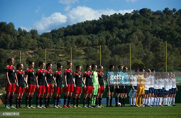 Germany and England lineup prior to the U23 friendly match between England and Germany at la Manga Club on March 3 2014 in La Manga Spain