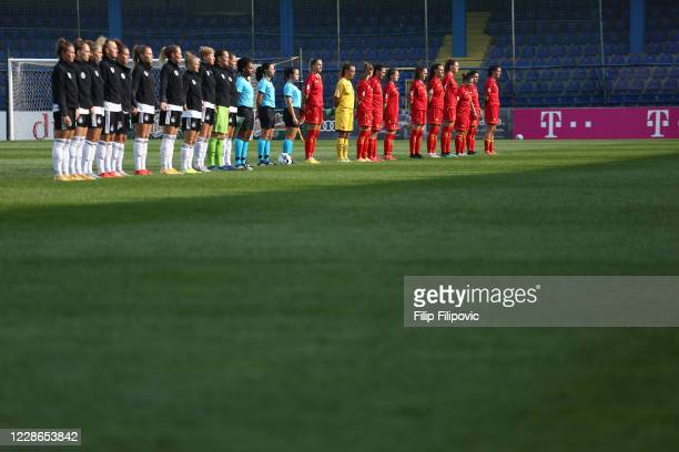 Germany and Montenegro teams lineup during anthem prior the UEFA Women's EURO 2022 Qualifier match between Montenegro and Germany at Pod Goricom on...