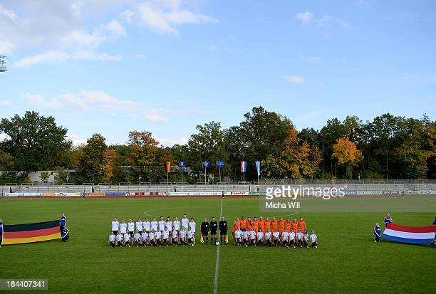 Germany and Netherlands players line up for the national anthems during the U17 Girls Euro Qualifier match between Germany and Netherlands at...