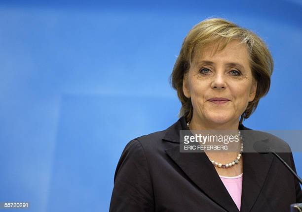 Angela Merkel, head of the Christian Democrats party gives a press conference after a party leadership meeting, one day after the German general...