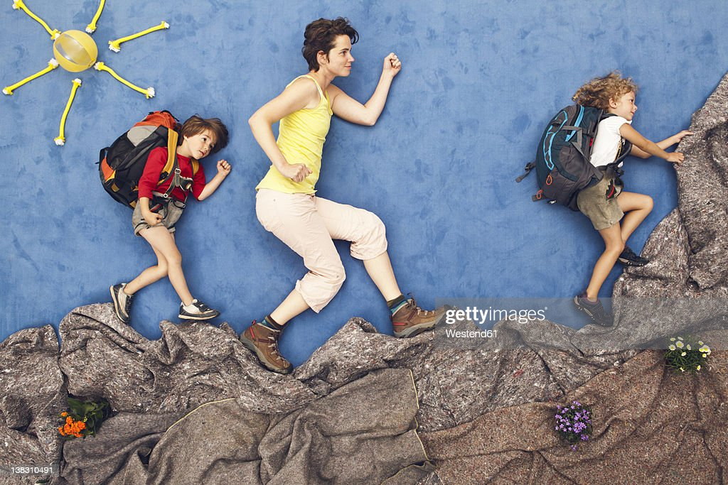 Germany, Artificial scene of family mountaineering : ストックフォト