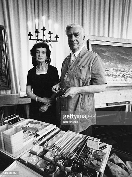 Germany artist Nazi painter Werner Peiner with his wife in his studio in his castle Vorst