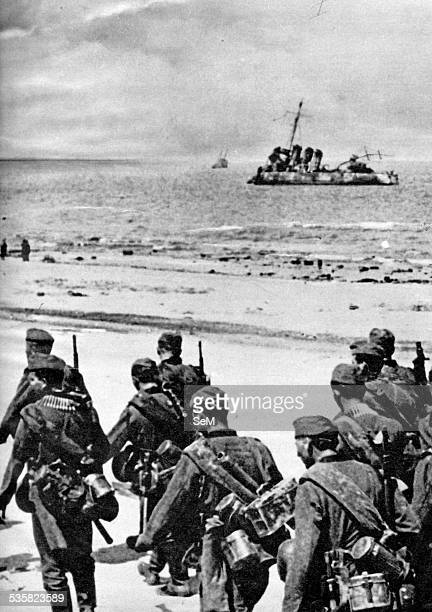 Germany at war Signal magazine 1940 Battle of France German infantry marching on the sand at Duquerque or Dunkirk The Battle of Dunkirk was an...