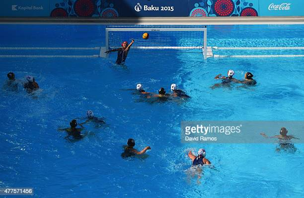 Germany attack the France goal during the Women's Water Polo semi final 710 match between France and Germany during day six of the Baku 2015 European...
