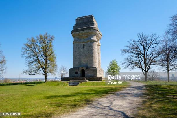 germany, augsburg, bismarck tower at steppacher mountain - augsburg zwaben stockfoto's en -beelden