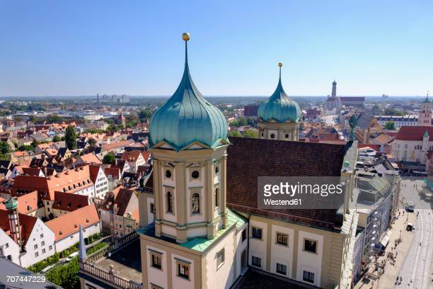germany, augsburg, townhall and maximilian street with st. ulrich and afra church - augsburg stock-fotos und bilder