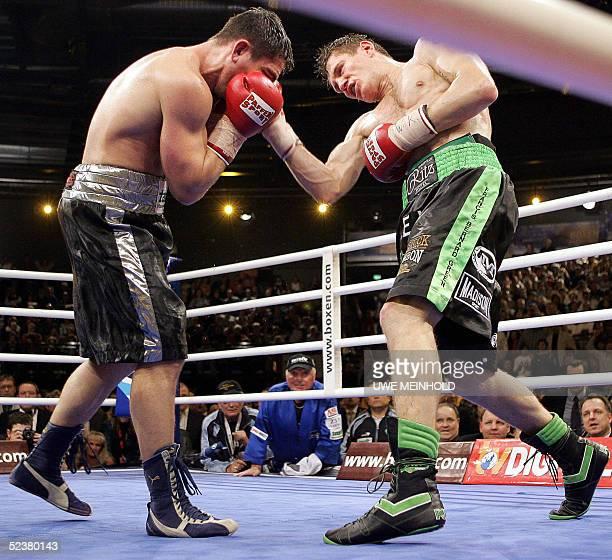 Australian challenger Danny Green fights again German titleholder Markus Beyer 12 March 2005 in Zwickau eastern Germany during their WBC world...
