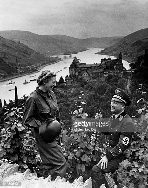 Germany Bacharach Midrhinevalley Rhine pictures View of the rhine with Stahleck castle forground shows two members of the german 'Reich air...