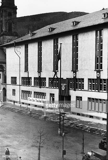 Germany Baden Heidelberg Building of the new university the banner reads Your honour loyalty to the Fuehrer Spring 1936