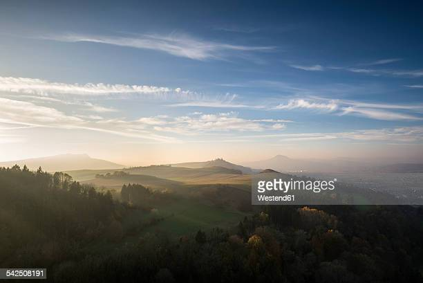 germany, baden wuerttemberg, constance district, hegau with hohenstoffeln, maegdeberg and hohenhewen f.l. in autumn - baden württemberg stock photos and pictures
