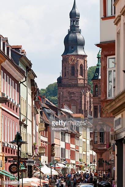 germany, baden wuerttemberg, heidelberg, view of old town and heiliggeistkirche - hauptstraße stock pictures, royalty-free photos & images