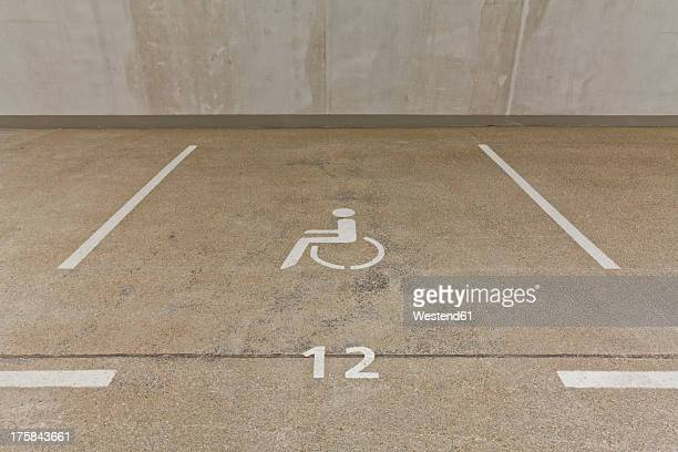 germany, baden wuerttemberg, stuttgart, car park area for handicapped people - disabled sign stock photos and pictures