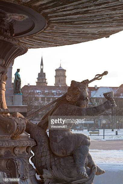germany, baden wuerttemberg, stuttgart, view of putto sculpture on fountain - castle square stock pictures, royalty-free photos & images