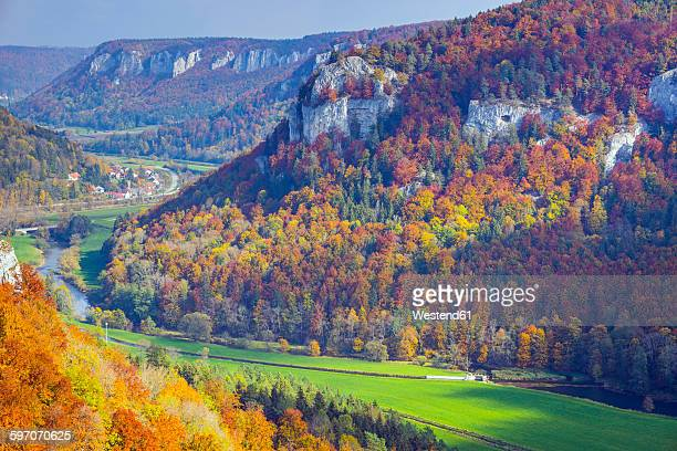 Germany, Baden Wuerttemberg, Upper Danube Nature Park, View of Upper Danube Valley in autumn