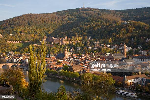 germany, baden-württemberg, heidelberg, view over town and river - baden württemberg foto e immagini stock