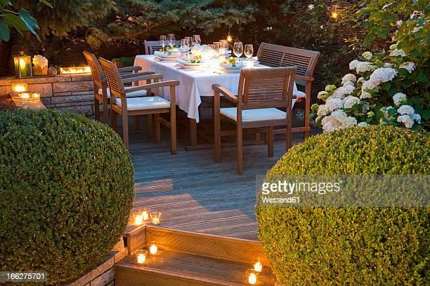 Germany, Baden-Wurttemberg, Stuttgart, garden table set on terrace