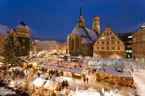 germany, baden-württemberg, stuttgart, view of market in christmas at night - baden württemberg stock photos and pictures